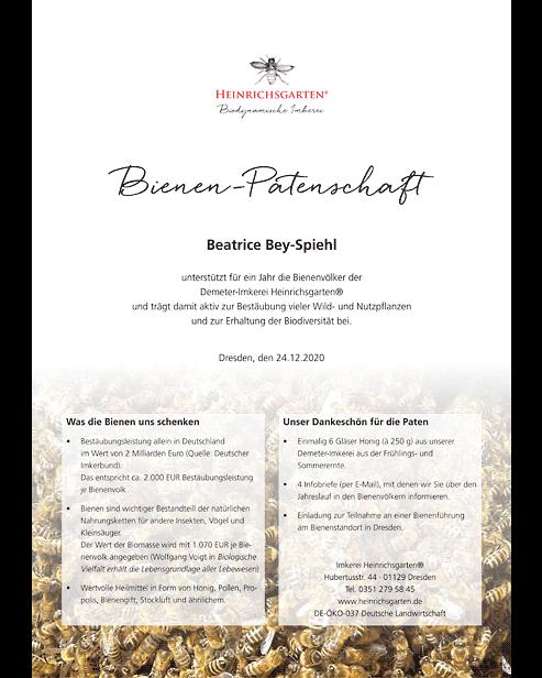 Bienenpatenschaft Urkunde Honig Infobrief